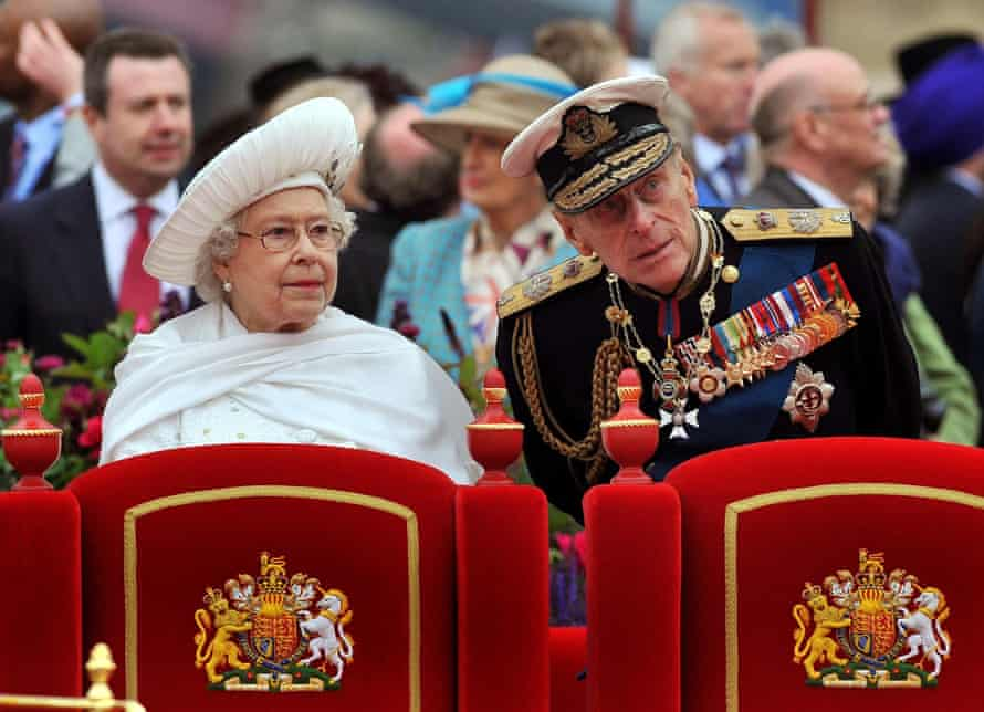 Queen Elizabeth II and Duke of Edinburgh during the Diamond Jubilee Pageant on the River Thames in London, 2012