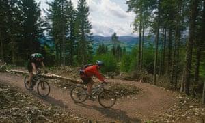 Mountain biking at the Tweed Valley forest park, Glentress, Scotland