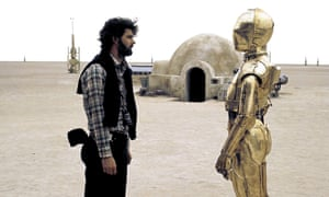 With George Lucas on the set of A New Hope (1977).