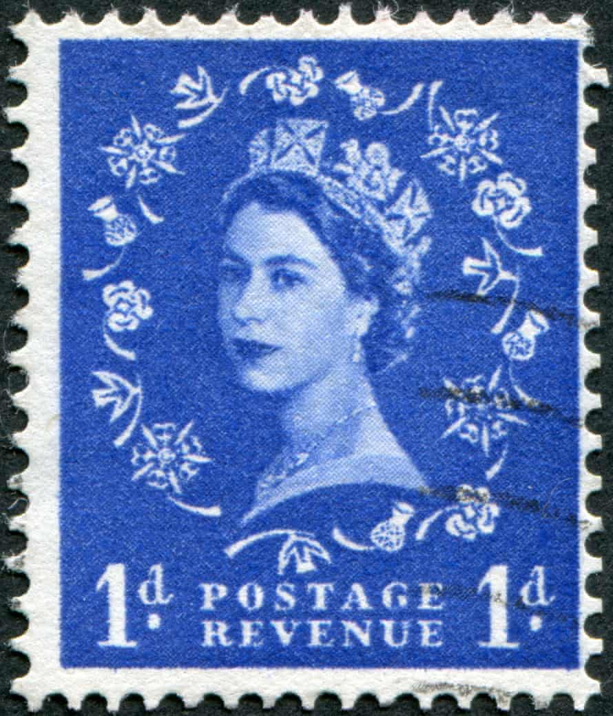 A postage stamp bearing the Queen's head in 1953, the year of her coronation.