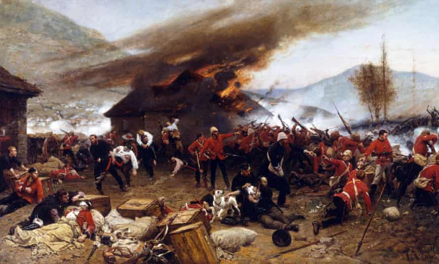 An artistic impression of the battle of Rorke's Drift, during the Anglo-Zulu war.
