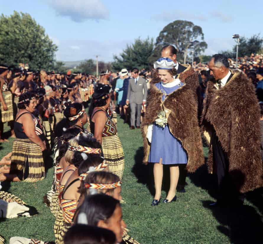 The Queen, 'the Rare White Heron', in her cloak of Kiwi feathers in Gisbourne, New Zealand, 1970.