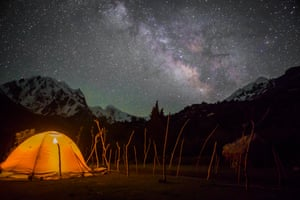 A tent sits alone amid the night sky in northern Pakistan.