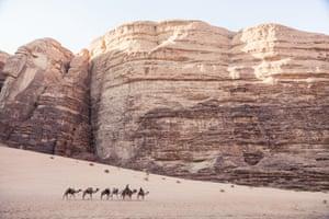 Camel caravan passes through the Wadi Rum desert, Jordan.