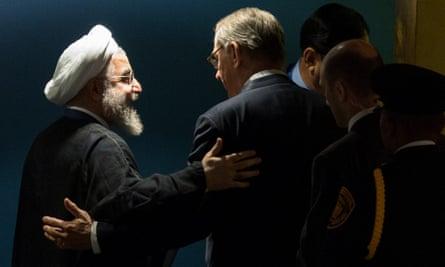 Iranian President Hassan Rouhani with UN deputy secretary-general Jan Eliasson in New York.