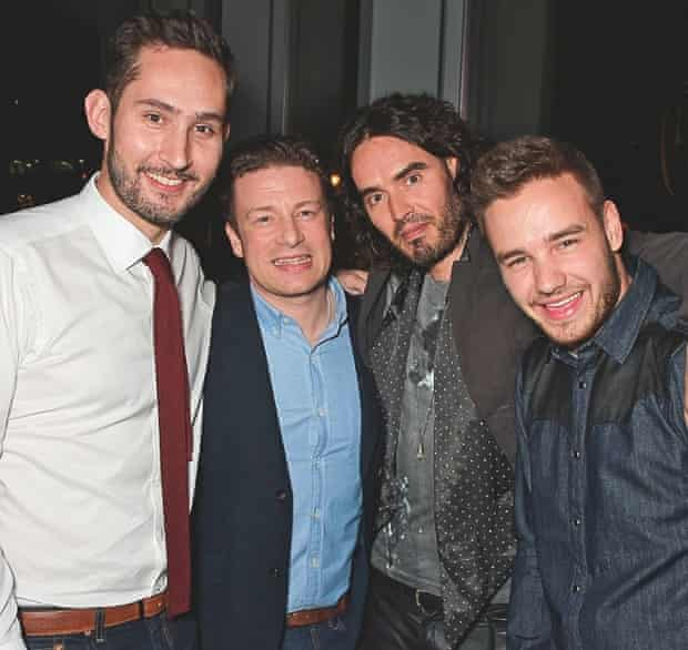 Kevin Systrom with Jamie Oliver, Russell Brand and Liam Payne