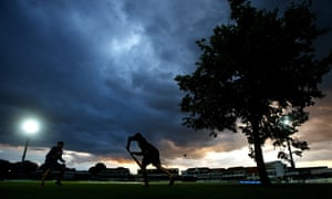 The sun goes down over the St Lawrence Ground in Canterbury.