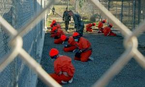 Detainees at Guantanamo Bay, Cuba.