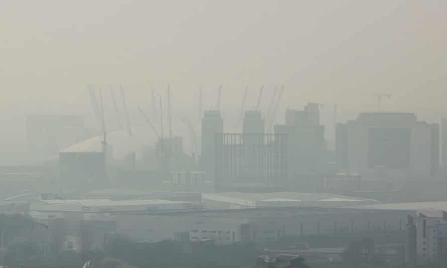 The 02 Arena seen smog