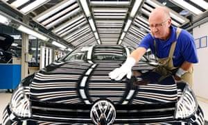 Volkswagen car being polished