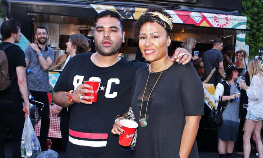Khan with Emeli Sandé at the New Look Wireless festival in July.