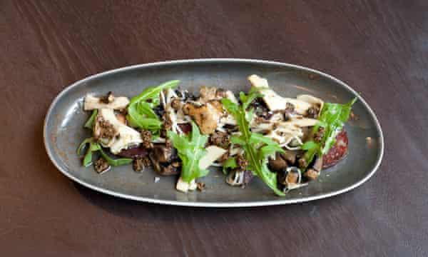 The 'truffle hunt': meaty, seared mushrooms with chunks of truffle salami.