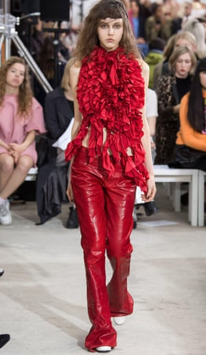 In the red: a model on the catwalk for Marques' Almeida.