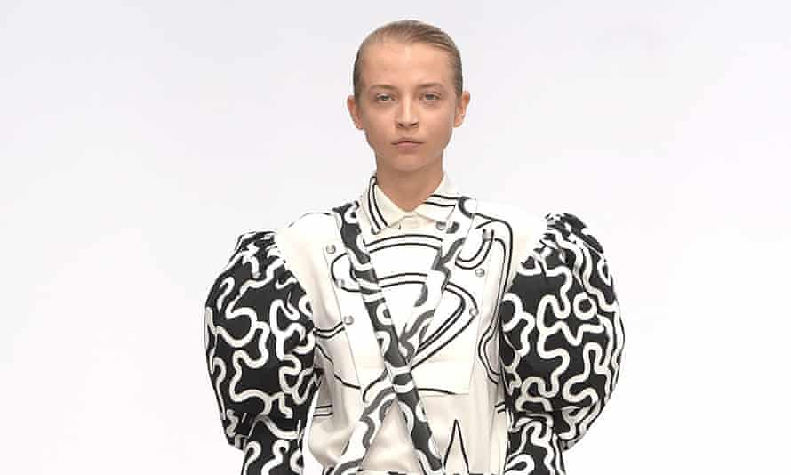 Sleeves are back:  a model walks the runway at the JW Anderson show.
