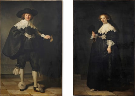A composite released by Rijksmuseum Amsterdam on 30 September 2015 shows two paintings 'Portrait of Marten Soolmans and 'Portrait of Oopjen Coppit (1634) by Dutch painter Rembrandt.