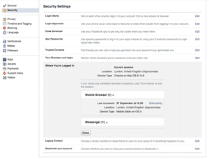 Facebook log out remotely
