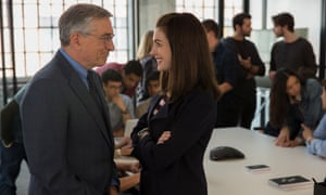 Fish out of water and unsatisfied career woman ... De Niro and Hathaway in The Intern.