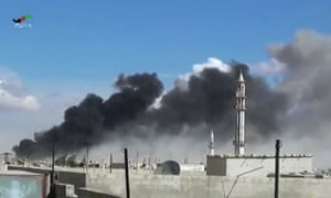 Smoke rises after airstrikes by military jets in Talbiseh of the Homs province, western Syria,