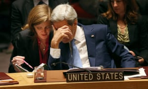 Secretary of State John Kerry speaks with United States Ambassador Samantha Power.