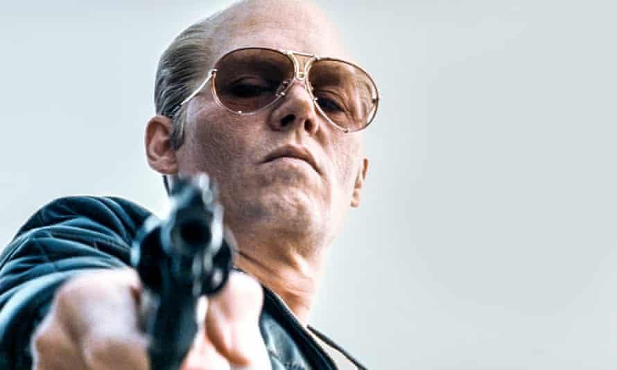 'Big, brash, horribly watchable' ... Johnny Depp as Whitey Bulger in Black Mass.