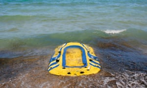 refugees' abandoned dinghy on Kos
