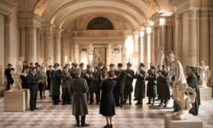 In a scene from the film Francofonia, members of the Nazi Wehrmacht gather in the vaulted chambers of the Louvre