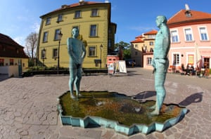 The work of controversial artist David Černý can be seen all over the city, including the Piss Sculpture in front of the Franz Kafka museum.