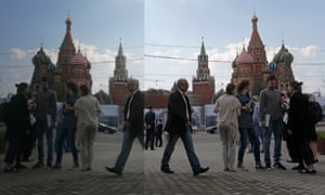 People gathered outside St. Basil's Cathedral and the Kremlin in central Moscow.