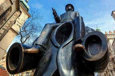 Statue of Franz Kafka in the Jewish Quarter.