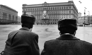 (FILES) A picture taken in 1990 shows Soviet police officers standing in front of the KGB building.