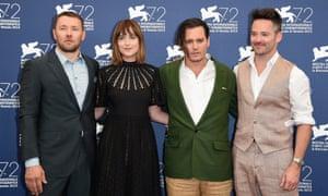 The gang's all here ... from left: Black Mass cast members Joel Edgerton, Dakota Johnson and Johnny Depp, and director Scott Cooper.