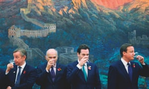 Michael Gove, Vince Cable, George Osborne and David Cameron, drinking a toast