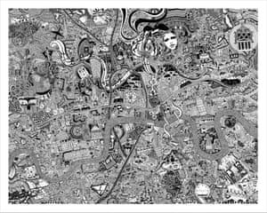 A personal hand-drawn pen and ink map of London by Fuller aka Gareth Wood