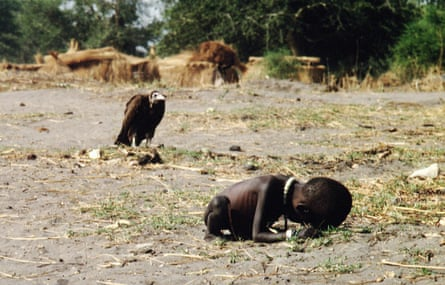 Kevin Carter's shot of a vulture watching a starving child, 1 March 1993 in Sudan