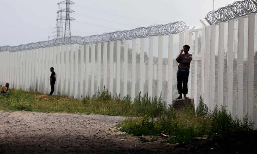 A barbed wire fence near the 'Jungle' in Calais.