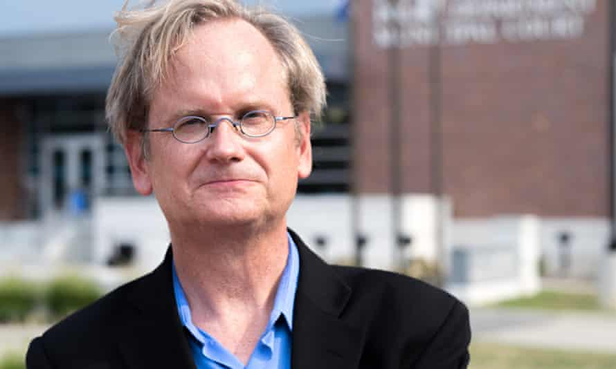 Pondering presidential run, Larry Lessig speaks outside Ferguson PD