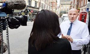 Alan McOwan, Chelsea and Westminster Hospital trust's director for sexual health, speaks to a TV cre