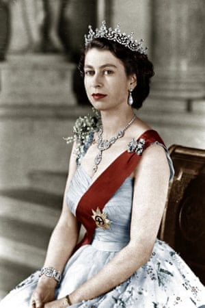 Queen Elizabeth II in an official photo in February 1952, when she acceded to the throne. 