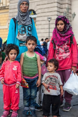Mary Al Aboud, 33, and her children (left to right) Jena, four, Muhammad, five, Rua, two, and Nada 10.