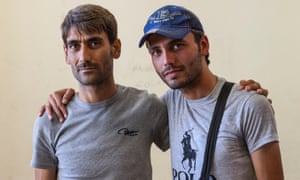 Majd Haaj Hussain, right, with his brother Walid.