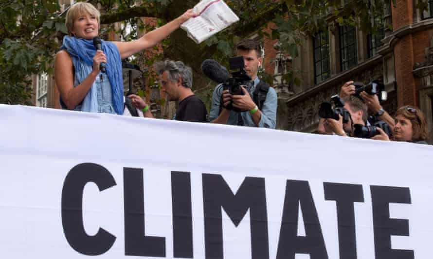 Emma Thompson (left) speaks at the end of The People's Climate March, central London, a march and rally to demand urgent action on climate change.