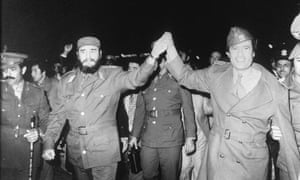 Fidel Castro and Libyan leader Colonel Muammar Gaddafi in 1977.