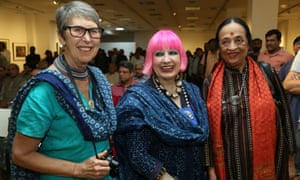Robyn Beeche, left, with Zandra Rhodes, centre, and Anjolie Ela Menon in April this year.
