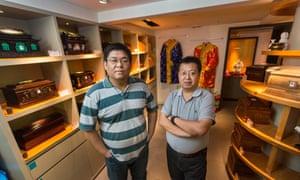 Wang Dan (L) and  Xu Yi at their funerary shop, The Other Shore, in Beijing.