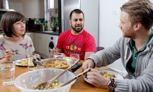 Muhammad, Yoshiko Stokoe and Jack Palmer share a meal.