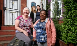 Lois Mortimer (front left), with (clockwise from back left) Esme and Kirsty McArthur and their Zimbabwean guest.
