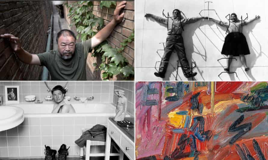 Clockwise from top, artist and activist Ai Weiwei; Charles and Ray Eames; Frank Auerbach's Hampstead Road, High Summer; Lee Miller in Hitler's bathtub.