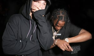 Justin Bieber with Travis Scott at the Travis Scott Rodeo album release party at Up&Down, New York.