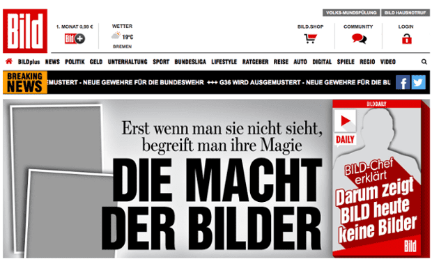 Bild's website also featured no photos on Tuesday morning