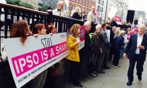 Hacked Off protesters outside Ipso's London headquarters.